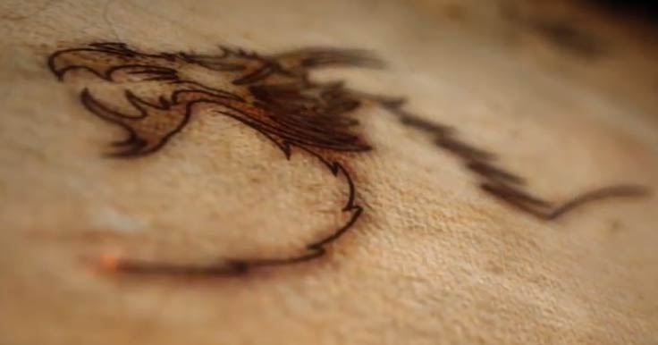 Create An Etched Dragon In Burnt Wood